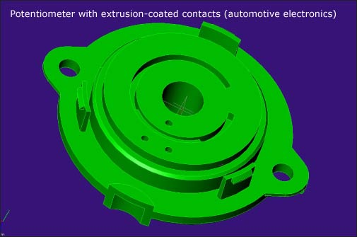Potentiometer with extrusion-coated contacts